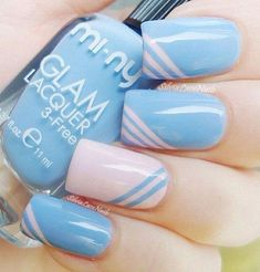 Light gray and light blue nail art. Combine two light colors in diagonal designs and you can come up with this cute and neat design.