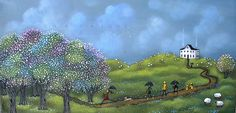 """A Perfect Day for Morel Mushrooms"" original folk art painting by Deborah Gregg"