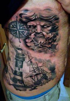 Tattoo Neptune ship   #Tattoo, #Tattooed, #Tattoos