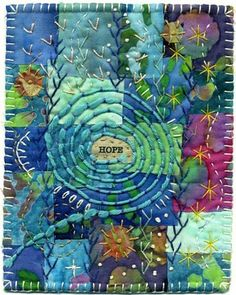 HOPE. So gorgeous on this crazy quilt!  #diy #crafts www.BlueRainbowDesign.com