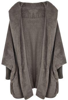Abrigo suelto con capucha manga larga muriciélago-Kaki EUR€24.13