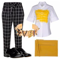 Da un pantalone morbido quadrettato, a una blusa con pennellata centrale, al bracciale serio ma non troppo, alla busta piatta di Furla...giocare con le forme e con i colori, per creare look informali ma sempre all'avanguardia!