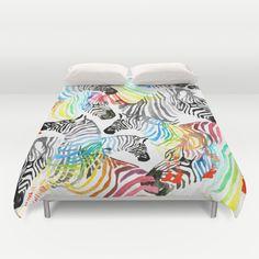 Rainbow Zebra Duvet Cover