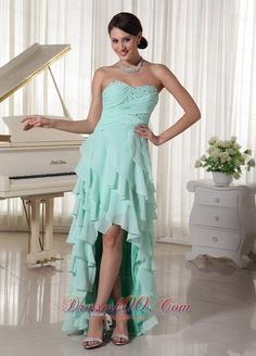 Apple Green Chiffon Layered High Low Prom Dress With Sweetheart Empire Beading and Ruch Decorate Up Bodice - US$149.32