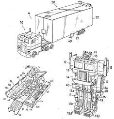The original Optimus Prime toy patent design. Art by Hiroyuki Obara.