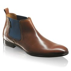 Mens Russell & Bromley Boots - PAUL! ( Brown leather) Chelsea boots with a contemporary twist. Two tone beetle boot