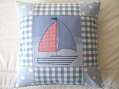 Nautical Boat Patchwork aplique pillow cushion