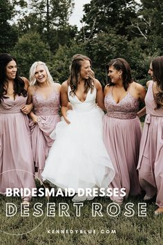 This muted pink-ish purple-ish color is taking the wedding industry by storm! Kennedy Blue's Desert Rose is the perfect dusty pink/purple for every wedding no matter the season! It can easily be incorporated into Spring, Summer, Fall, and even Winter weddings! It looks so good next to any floral arrangement, on every skin tone, and matches with almost any groomsmen suit! Search hundreds of styles in sizes 00-32 today!   bridal party ideas   mismatched bridesmaid dresses   wedding trends Affordable Bridesmaid Dresses, Mismatched Bridesmaid Dresses, Beautiful Bridesmaid Dresses, Bridesmaid Dress Colors, Wedding Dresses, Dusty Rose Color, Dusty Pink, Pink Purple, Blue