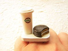Kawaii Coffee Ring  Miniature Food Jewelry by SouZouCreations, $12.50