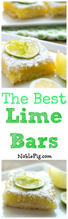 The Best Lime Bars...on the planet!! A refreshingly sweet treat in every bite. Serve them at your next gathering from NoblePig.com.