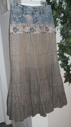 Mocha Rose True People taupe silk vintage lace Renaissance Denim Couture Bohemian Jean Skirt (use as inspiration to make one) Diy Fashion, Ideias Fashion, Fashion Outfits, Umgestaltete Shirts, Diy Vetement, Denim Ideas, Denim Crafts, Altered Couture, Denim And Lace