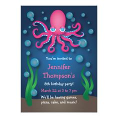 Under the Sea Pink Octopus Birthday Invitations