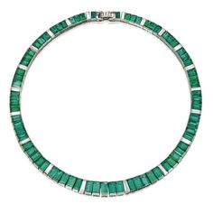 PLATINUM, EMERALD AND DIAMOND NECKLACE, OSCAR HEYMAN & BROTHERS, CIRCA 1960 The straightline design channel-set with emerald-cut emeralds weighing approximately 71.25 carats, accented by baguette diamonds weighing approximately 7.35 carats, length 15 7/8  inches, with maker's mark for Oscar Heyman & Brothers, with pendant loop.