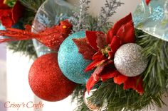 🌟Tante S!fr@ loves this📌🌟taupe, red, aqua christmas decorations photos Christmas Bows, Christmas Colors, Family Christmas, Winter Christmas, Christmas Holidays, Xmas, Halloween Door Decorations, Christmas Decorations, Holiday Decor