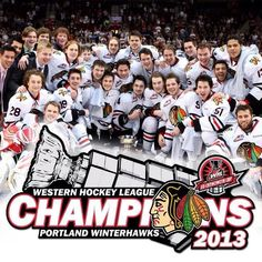 Portland Winterhawks 2013 WHL Champs Let's repeat this year boys! Take it to seven and dominate! The Sporting Life, Team Mascots, Great Logos, Hockey Players, My Passion, Little Babies, Nhl, Cheerleading, Portland