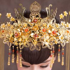 2014秋冬新款中式新娘鳳冠頭飾古典色 龍鳳褂秀禾服頭飾發梳配飾