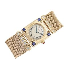 Gold, Diamond and Sapphire Wristwatch, Cartier