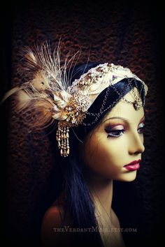 Ice Queen Headdress- White Peacock, Tribal Fusion Headpiece, Belly Dance, Tribal Bellydance, Wedding, Party,. $95.00, via Etsy.