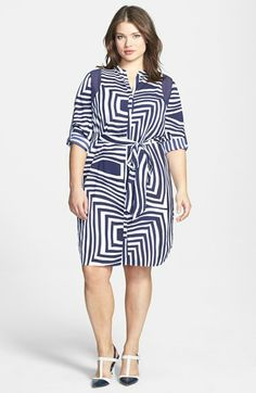 DKNYC Print Y-Neckline Shirtdress (Plus Size) available at #Nordstrom