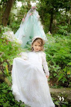 Vintage porcelain doll and tent children photography idea