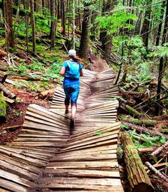 Trail Running in Alice Lake Provincial Park on Undulating, Wavy Wooden Boards // via solanaleigh