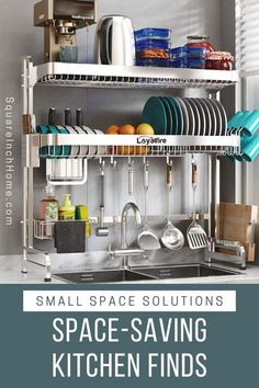 These space-saving (and space-making) kitchen solutions will save you a ton of space! Perfect for small kitchens. Small Kitchen Solutions, Small Kitchen Storage, Small Kitchens, Kitchen Organization, Organized Kitchen, Kitchen Room Design, Diy Kitchen Decor, Space Saving Kitchen, Small Spaces