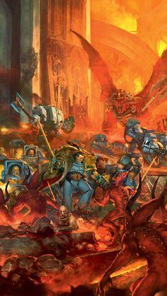 Space Wolves facing off against servants of Khorne