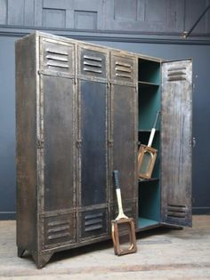 """Polished and Rivetted Metal Locker. A Mid Century, French, Polished and Rivetted Metal Locker, Makers Plaque """" Duprez , Lille"""" ."""