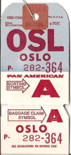 Pan Am - OSL Oslo Baggage Tag