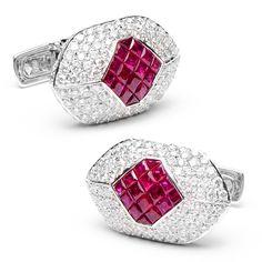 Pave Diamonds & Rubies Eyelet Cufflinks