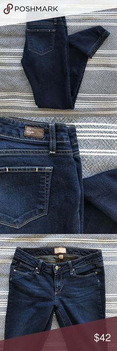 "Paige Peg Straight Leg Dark clean wash with some fading at the knees. Contrast stitching and classic 5 pocket styling. 13"" leg opening so it's a very slim straight. 7.5"" rise. 32"" inseam. Perfect condition. Paige Jeans Jeans Straight Leg"