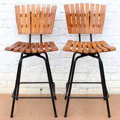 2 Vintage Mid-Century Modern ARTHUR UMANOFF Swivel Slat Bar STOOLS / CHAIRS 50s