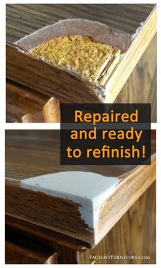 upcycling möbel Repair and replace missing veneer, Formica or wood on furniture, # Furniture Fix, Refurbished Furniture, Upcycled Furniture, Furniture Projects, Furniture Plans, Rustic Furniture, Furniture Makeover, Furniture Design, Painting Veneer Furniture