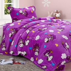 purple Snoopy Bedding | Snoopy - Animal Style Flannel Twin/Full Size 3-Piece Duvet Cover ID ...