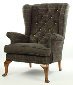 Vintage Parker Knoll Armchair Harris Tweed Wool by JustinaDesign Yellow Armchair, Patterned Armchair, Swivel Chair, Wingback Chair, Parker Knoll Chair, Wing Chair, Sofa Set, Accent Chairs, Upholstery