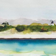 """Les Moulins"" close up detail of one watercolor (25x57cm) you will discover during the summer 2016  exhibit of Association des Peintres de Noirmoutier in Noirmoutier 16-25 July #aquarelle #watercolor #noirmoutier #moulin #sea #painting #art #detail #closeup"