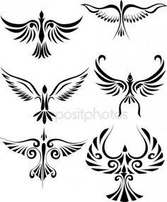Silueta vector pájaro del tatuaje