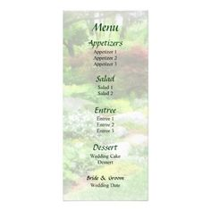 Garden With Japanese Maple Wedding Menu -- Summer wedding menu that you can customize yourself. #wedding #weddingmenu #weddingmenus #customize #gettingmarried #flower #flowers #maple #japanesemaple #summer #garden #green $0.65 per card   BULK PRICING AVAILABLE!