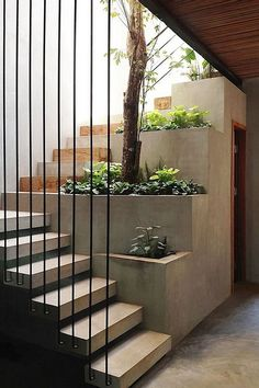 Modern Staircase Design Ideas - Browse photos of modern stairs and also discover design and layout ideas to motivate your very own modern staircase remodel, consisting of distinct railings and storage . Concrete Staircase, Staircase Design, Stair Design, Staircase Ideas, Staircase Remodel, Staircase Railings, Stair Idea, Open Staircase, Staircase Decoration