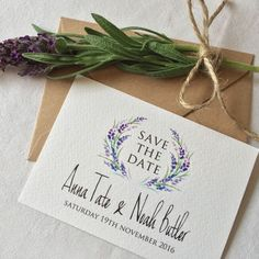 Sweet lavender save the date designed by Top Table Design.