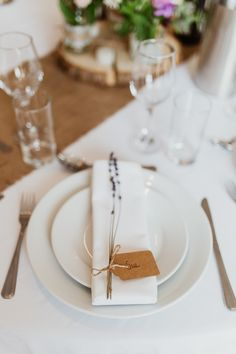 Place Setting Lavender Luggage Tag Name Beautifully Relaxed Outdoorsy Barn Wedding http://www.caitlinandjones.co.uk/