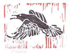 raven  original block print