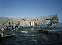 Built by White arkitekter AB in Kastrup, Denmark with date Images by Ole Haupt. Reaching out into the Øresund from Kastrup Strandpark in Kastrup, Kastrup Sea Bath forms a living and integral part o. Floating Architecture, Water Architecture, Architecture Design, Aarhus, Copenhagen Denmark, Urban Landscape, Helsinki, Swimming Pools, Places
