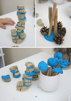Sculpture for kids with natural materials and play dough - Kinderbetreuung Reggio Emilia Classroom, Reggio Inspired Classrooms, Play Based Learning, Early Learning, Preschool Art, Preschool Activities, Nursery Activities, Children Activities, Curiosity Approach Eyfs