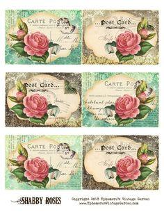 decorative printable tags - Ephemeras Vintage Garden: Free Printable - Shabby Rose Postcard Tags - Do It Darling