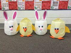 Milk carton chicks and bunnies make a perfect, cheap, super cute Easter basket.