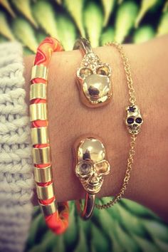 ☆ Large Cuff Skull Bracelet and Silver Skull Bracelet :¦: Shop: Sabo Skirt ☆ Skull Bracelet, Skull Jewelry, Jewelry Box, Jewelery, Jewelry Accessories, Fashion Accessories, Boho Jewelry, Jewelry Ideas, The Bling Ring