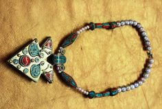 Couture Vintage Afghani Turquoise and Coral 2 faces Pendant Necklace with Tibetan beads and Natural sea pearls