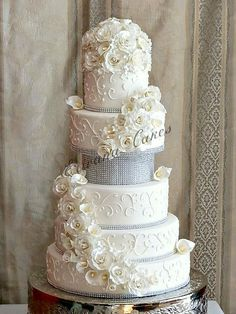 White Sugar Roses, piping and a bit of bling wedding cake ~ all edible