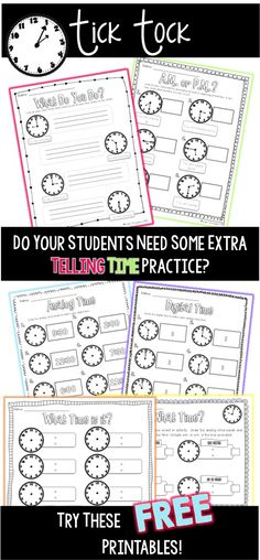 Give your students some extra telling time practice with these FREE printables! Teaching Time, Teaching Math, Math Resources, Math Activities, Telling Time Activities, Math Measurement, Math Groups, Second Grade Math, Grade 2